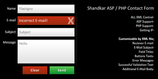 Shandkar Flash PHP and ASP Contact Form XML Driven - click for preview
