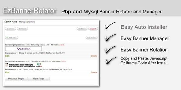 PHP MySQL Banner Rotator Script - click for preview