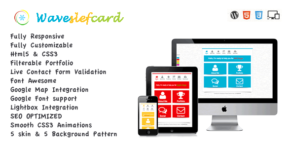 Waveselfcard-Responsive Vcard Portfolio Template - click for preview